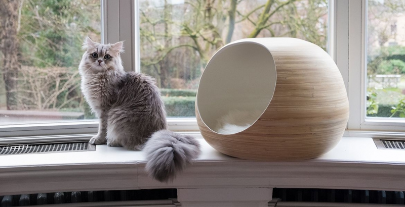 Dandy Ball, cocon pour chat fabrication artisanale jaune