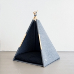 Couchage Teepee, fabrication artisanale gris anthracite pour chat et chien