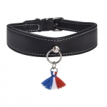 Collier pour chien Bercy made in france, cuir noir